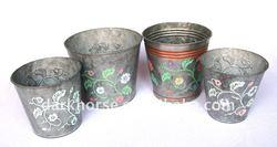 Antique Round Metal Flower Pot with Fancy Pattern