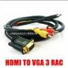 6ft 1.8m HDMI to 3 RCA VGA HD15 Video Audio AV Cable