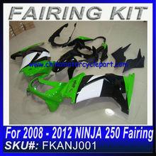 For 2008 2009 2010 2011 2012 NINJA 250 fairing GREEN&WHITE&BLACK