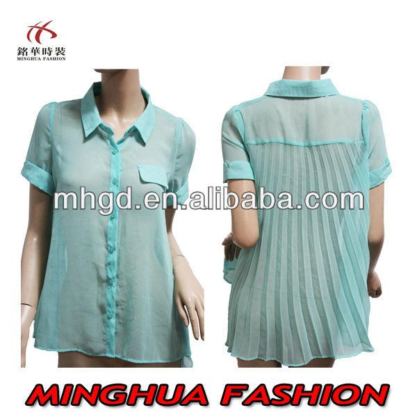 Para mujer tops el último diseño para mujer blusas de la gasa ropa diseños 2014