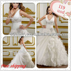 JHF001 Free Shipping V-Neck Princess Designer Swarovski Crystal Beading Applique Super Casual Beach Wedding dress 2013