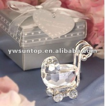 Crystal Baby Carriage in Satin Gift Box Baby Festival Party Gifts