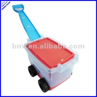 special design plastic toy storage box with wheels and draw bar