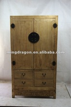 Chinese antique natural solid wood bedroom cabinet