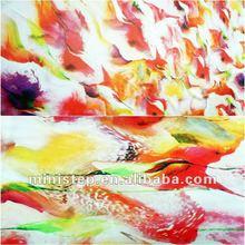 50D*50D 100%P 2800T 2012 latest smooth digital tropical flower design printed chiffon dress fabric