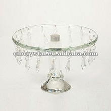 crystal glass cake stand with dangling crystal