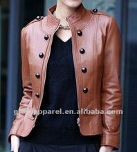Brand cheap leather jackets&orange real leather jacekts for women