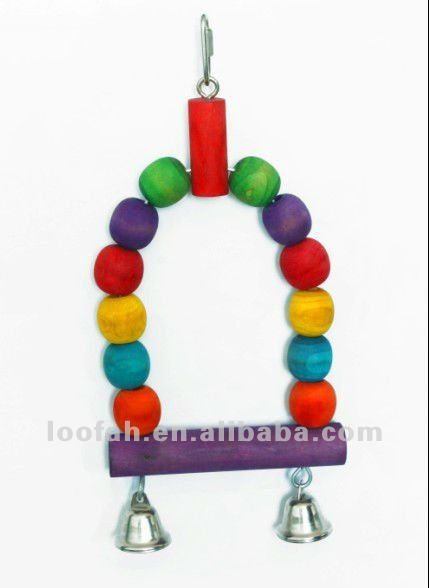 high quality wooen beads parrot swing