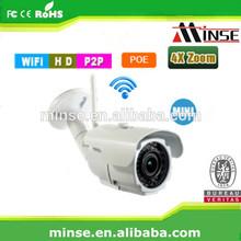 Onvif P2P cloud POE Outdoor IP Camera, Full HD Auto Zoom WIFI wireless IP Camera