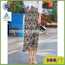 Glamorous Porcelain Printed Elastic Waist Maxi Skirt long Skirts For Women