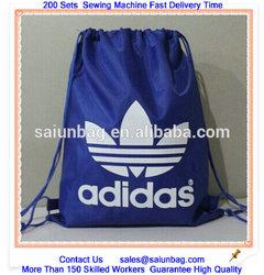 Customized nylon polyester Drawstring bag with reinforced trangle ,CMYK printing organic cotton drawstring bag