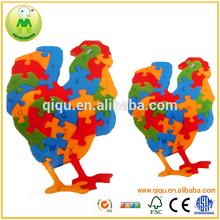 Handmake Best Seller 24pcs Cock 3D Wooden Animal Puzzles