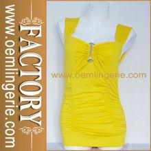 Light Yellow Sleeveless Adorn Chest Cut Out Back Tight Waist Fashion Latest Sexy Dress