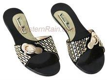 Black leather woman slipper/women sandal/ women low heel silpper