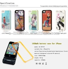 Portable rechargeable battery pack case for iPhone 4/4S with DIY picture on the back case