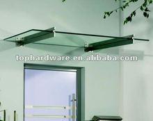 Glass door canopy with steel bracket