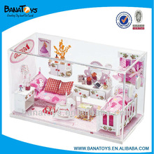 Beartiful princess wooden doll house with light