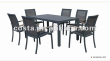 rattan dining chair and table with imitation marble top