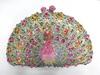 8105 Multi-color Peacock Lady fashion Crystal metal Bridal Wedding hard clutch bag Evening purse handbag casebox