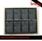 Wholesale oem charming 8 slots plastic black leather ring display tray
