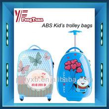 2014 china alibaba 16'' ABS kid travel trolley luggage, school bags hard shell waterproof design ,cartoon Screen,OEM accept.