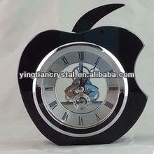 Apple shape crystal clock / crystal wedding gift crystal clock