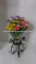 Vintage glass flower vase with metal base ningbo