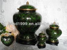 Wholesale P469 China Forest Green Floral Metal Cloisonne Adult Funeral Cremation Ash Urns Jar