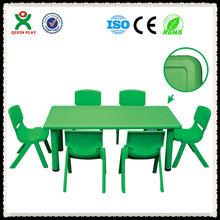 Gunagzhou factory charming cheap square kids plastic table and chair set/desk/prescholl furniture QX-B7101