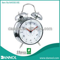 Home Modern Quartz Metal Twin Bell Alarm Decorative Table Clock