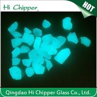 Glow in the dark garden crushed blue green glass stone