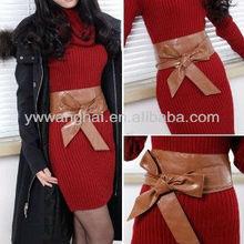 Brown PU Leather Wrap Around Tie Corset Cinch Waist Belt Band