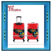 2014 china alibaba Hot sale girl's ABS/PC hardcase travel trolley luggage /butterfly print/ carry-on suitcase