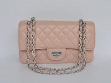 hot selling light pink goatskin leather handbags designer lady shoulder bags with silver/golden shoulder strap