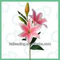 De un solo 2-head de la flor del lirio de seda y tela de la flor de tallo largo home deco