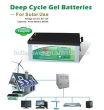 Latest solar PV system gel deep cycle battery 12v 250ah