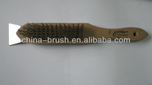 wooden handle steel/brass/coopered steel/stainless wire brush with scraper