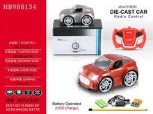 mini Q 1:28 die-cast metal 4chu rc model car with lights (include battery, USB)