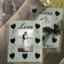 Best Selling Love Heart Glass Photo Coaster Favors (2pcs in PVC box)