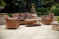Jardín al aire libre de plástico sofá de ratán conjunto, los muebles del patio, muebles de mimbre