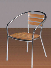 garden aluminum wooden cafe coffee shop stacking lounge deck chairs