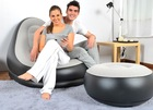 Inflatable Air sofa chair with stool in flock PVC fabric with electric pump
