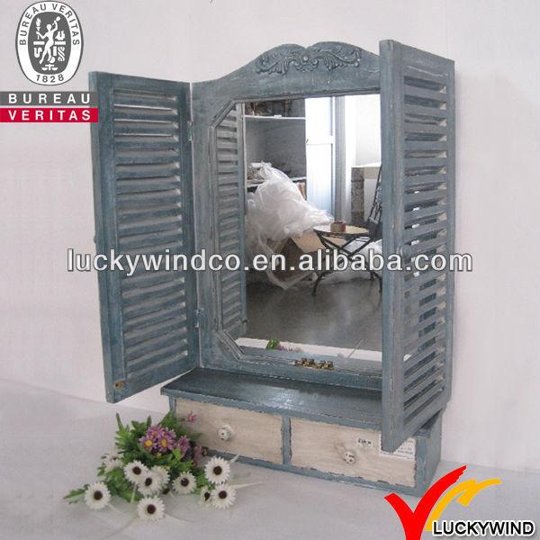 Antique vintage wooden shutter mirror with drawer buy for Miroir fenetre bois
