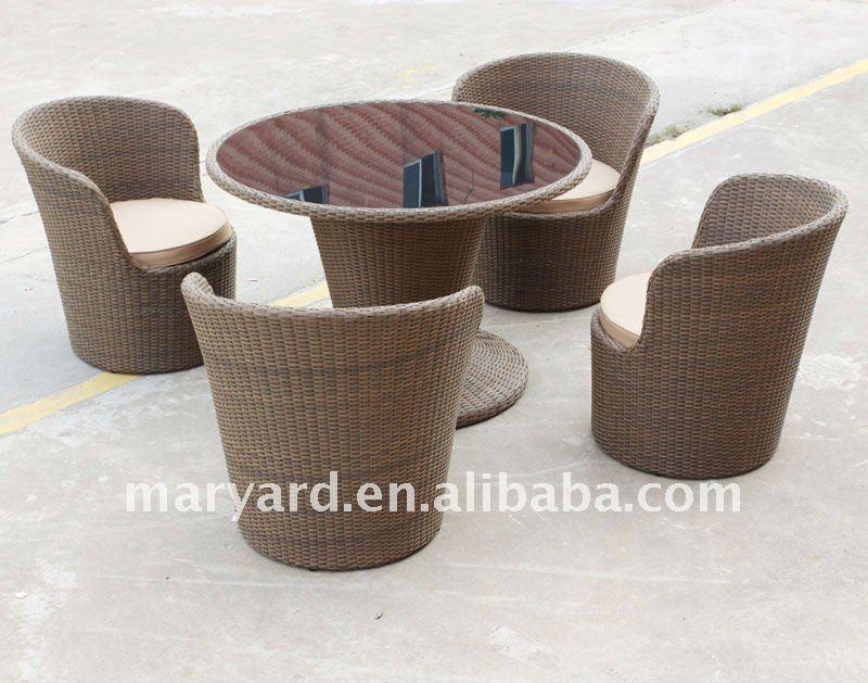 Rotondo tavolo in rattan, sedie con my11nd01-Attrezzi da giardino-Id ...