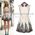 Floral de impresión vestidos/ladies' sin mangas de lujo casual florales vestidos de impresión
