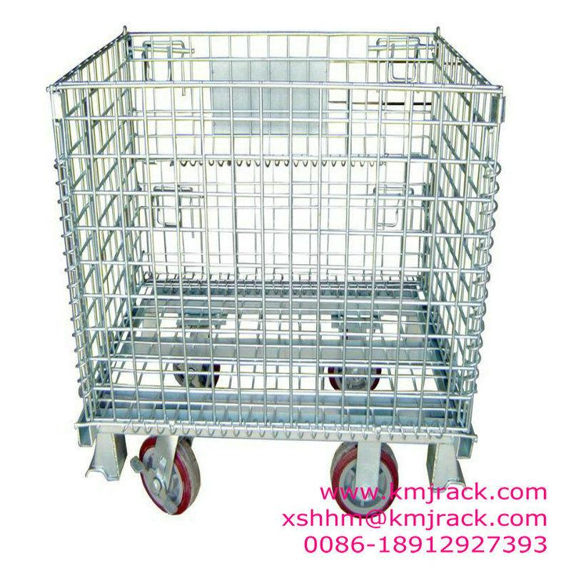 Galvanizli katlanır ambarı Katlanabilir hasır palet/depolama kafesi/örgü palet konteyner istiflenebilir