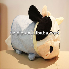 Fabric plush animal tissue cover, plush cow tissue box