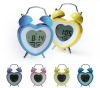 Hairong Fashion kids mini alarm clock heart shape lcd table clock