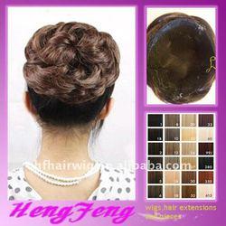 Brown daily hair bun ring ladies synthetic hair pieces brown synthetic hair pieces