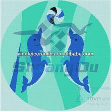 Porcelain mosaic pattern for Ceramic Pair of Jumping Bottlenose Dolphins